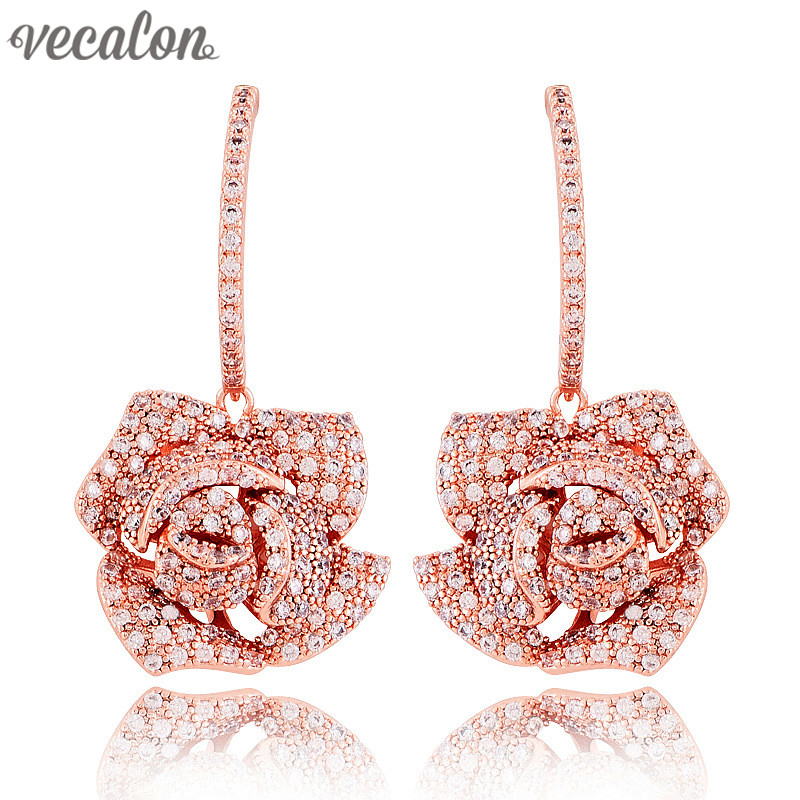 Vecalon Brand Flower Style Dangle earring Full AAAAA Zircon Cz Rose Gold Filled Engagement wedding Drop Earring for women