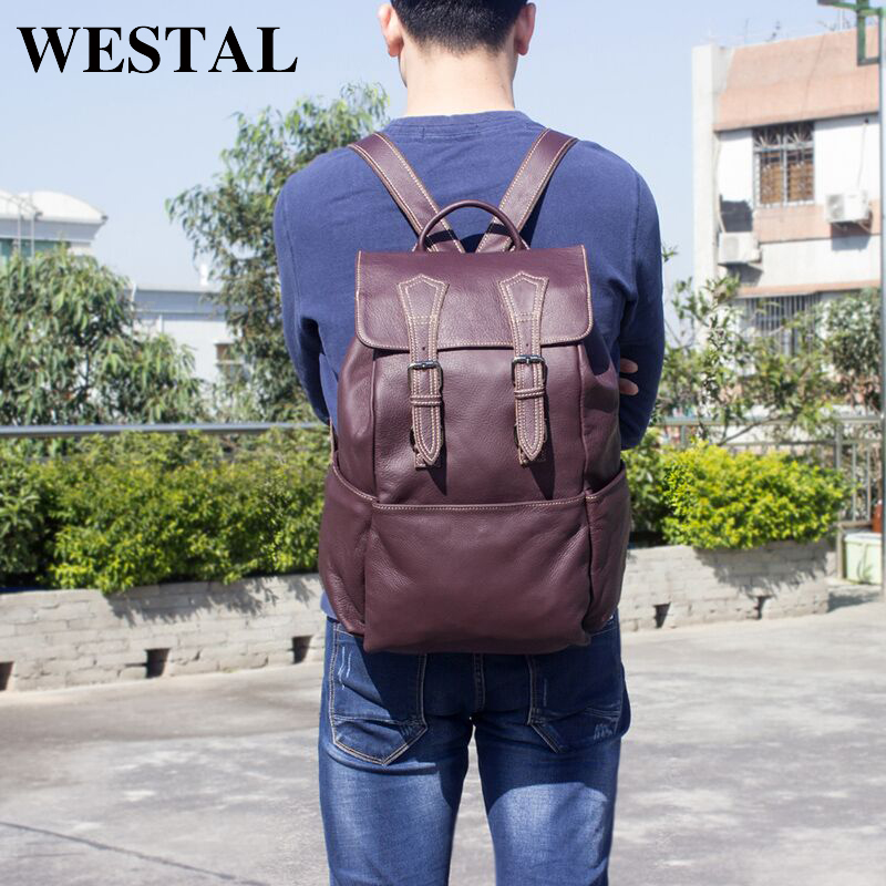 WESTAL Men's Backpack male Genuine Leather Men's Travel Bag mochilas laptop backpack male casual backpack for men back pack 8387 augur 2018 brand men backpack waterproof 15inch laptop back teenage college dayback larger capacity travel bag pack for male