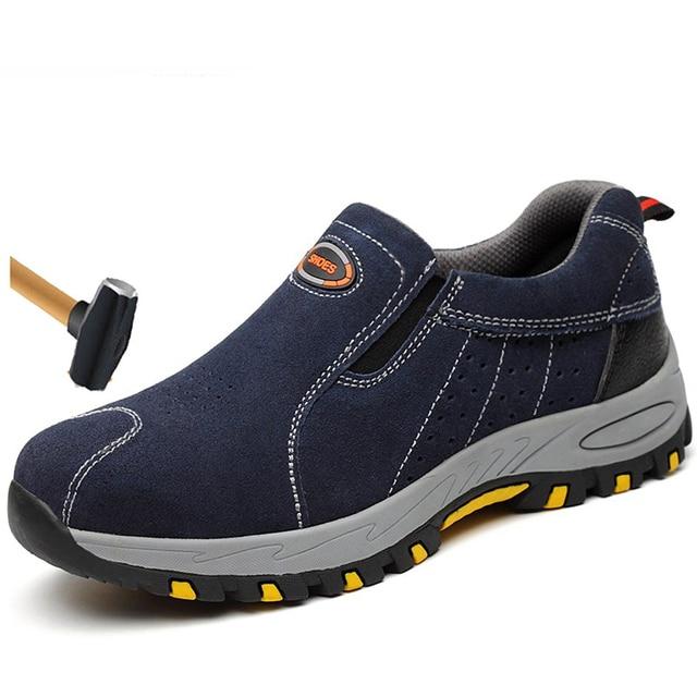Artı Boyutu erkek Nefes Açık Inek Süet Deri Çelik Burunlu iş çizmeleri Ayakkabı Erkekler kaymaz Delinme Geçirmez Güvenlik ayakkabı