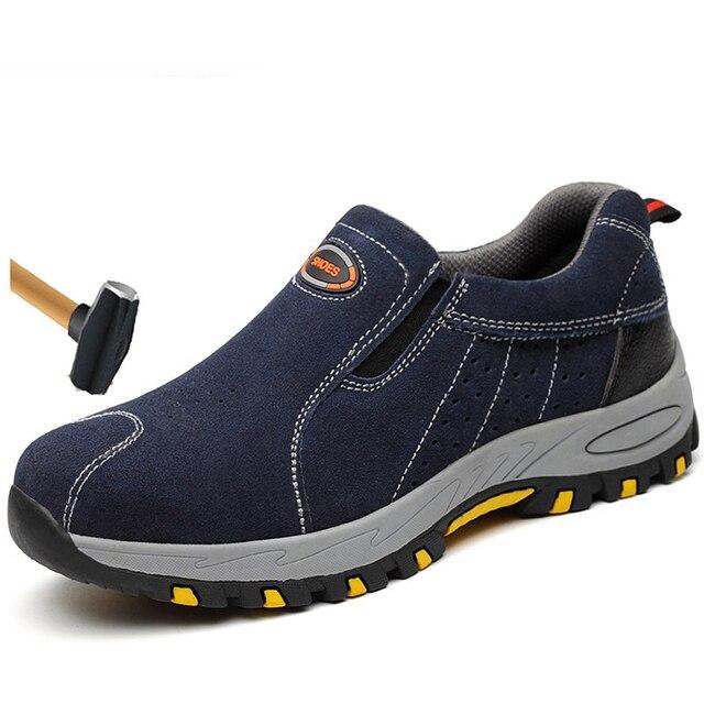 Plus Size męska oddychająca odkryty krowa zamszu stali Toe buty robocze buty mężczyźni antypoślizgowa odporne na przebicie obuwie ochronne