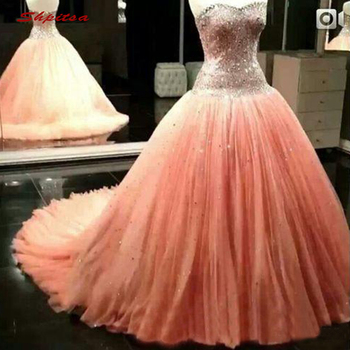 c2972dd9e7062 Lüks Kristal Quinceanera Elbiseler Balo Sevgiliye Balo Debutante On Altı  Tatlı 16 Elbise vestidos de 15 anos