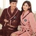 Pareja de franela gruesa bata bata otoño e invierno coral velvet pijamas en casa de manga larga hombres y mujeres albornoz