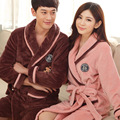 Thick flannel couple robe robe autumn and winter coral velvet home pajamas long - sleeved men and women bathrobe