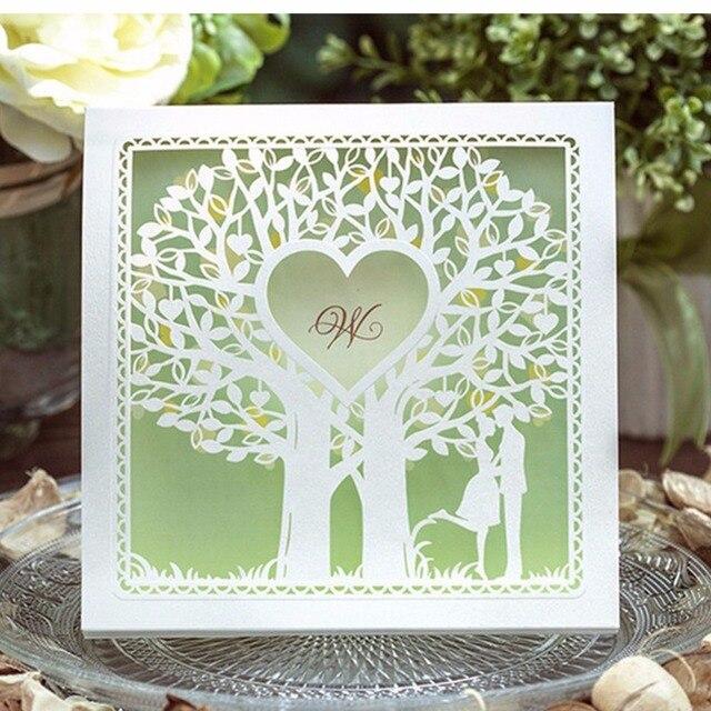 50 sztuk/partia gorąca sprzedaż drzewa miłości dwie osoby romantyczne Laserowo Wycinane luksusowy zaproszenie ślubne Karta zaproszenie na Ślub z niską ceną