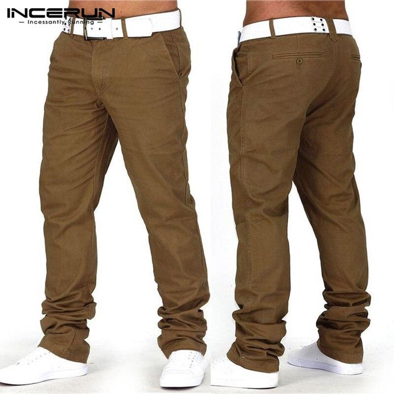 INCERUN Männer Beiläufige Hosen Solide Baumwolle Fitness Gerade Hosen Mode Business Lange Hosen Jeans Männer Pantalon Hombre Plus Größe