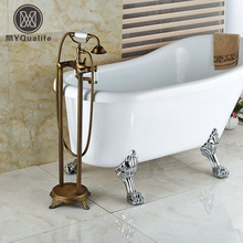 Antique Brass Dual Handle Bathroom Free Standing Tub Faucet Floor Mount Bathtub Mixer Taps with Handshower