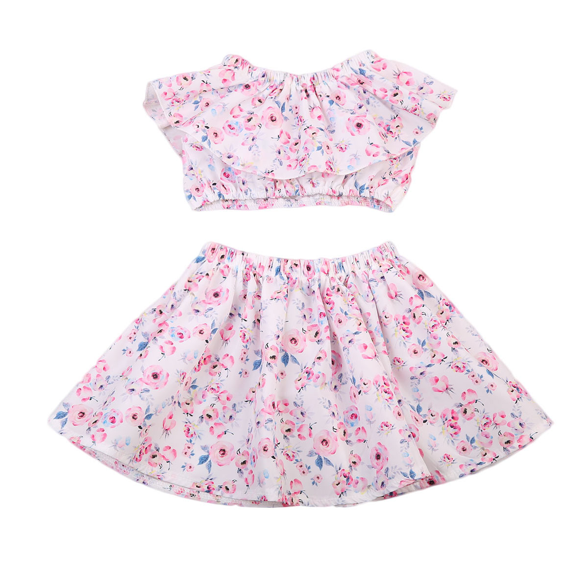 2PCS Newborn Infant Baby Girls Clothes Summer Baby Girl Floral Tops Skirt Dress Outfits Set 2017 New 0-24M
