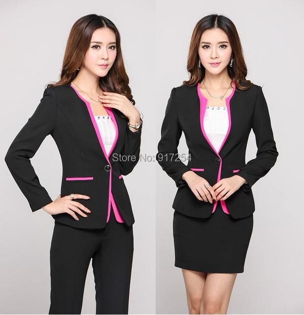 Novo de forma magro 2015 Femininos outono inverno Professional Business Suits uniformes de estética conjunto desgaste do trabalho de escritório Blazers
