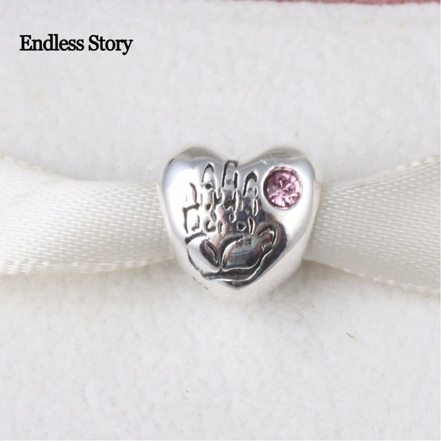 Pandora Women's 925 Sterling Silver Round Pink Cubic Zirconia Baby Girl Charm Bead XE5T60F