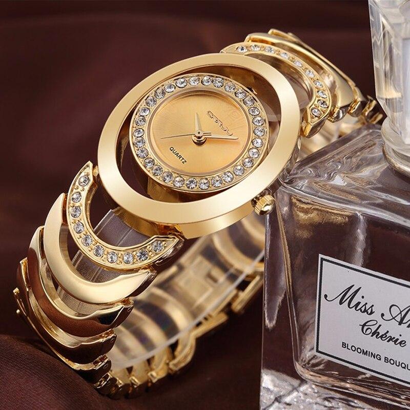 CRRJU Watches Women Top Luxury Brand Crystal Gold Ladies Quartz Wristwatches Bracelet Steel Watch Relogio Feminino