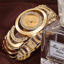 CRRJU Montres Femmes Top Marque De Luxe En Cristal Or Dames Montres À Quartz Bracelet En Acier Montre Relogio Feminino Relojes Mujer