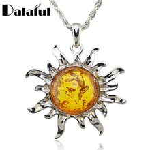 Fashion Hot Baltic Simulated Imitation Amber Honey Sun Lucky Flossy Pendant Necklace Jewelry L00301(China)