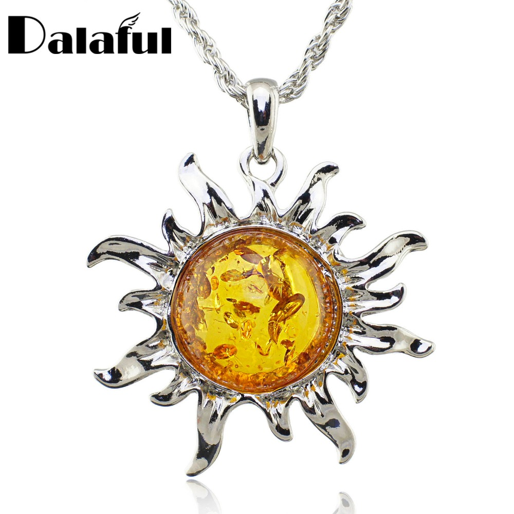 Fashion Hot Baltic Simulierte Honey Sun Lucky Flossy Anhänger Halskette Schmuck L00301