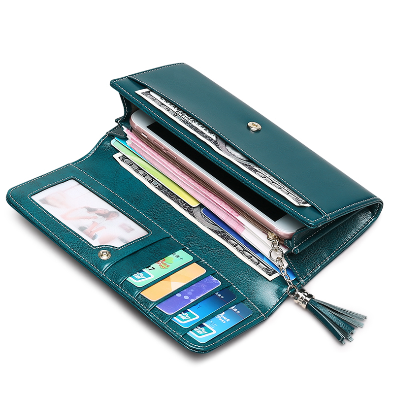 New Split Leather Womens Purse Casual Wallet Button Wallet Women Large Capacity Purse Women Wallets Vintage Women Wallets