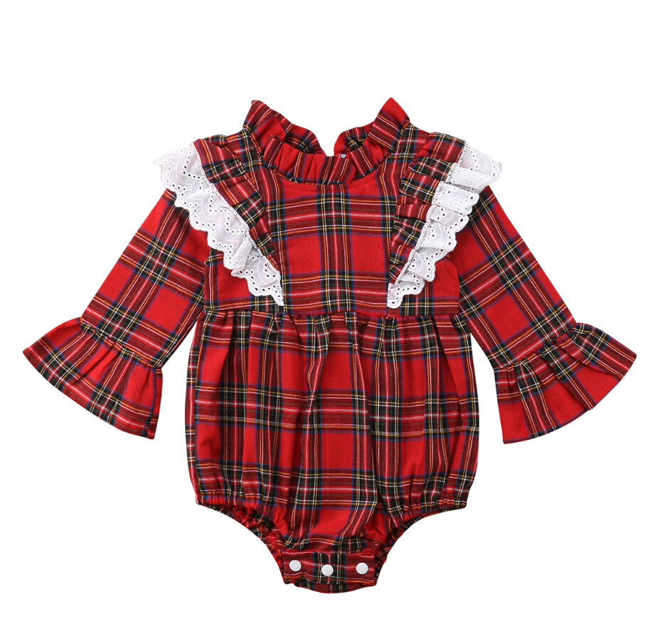 New Lovely Kids Baby Girls Lace Plaids   Romper   Jumpsuit Flare Sleeves Special Collar Sunsuit Outfits Clothes 0-24M