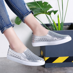 Image 5 - STQ 2020 Summer Women Flats Sneakers Ballet Flats Oxfords Shoes Slip On Loafers Casual Shoes Women White Silver Boat Shoes 6688