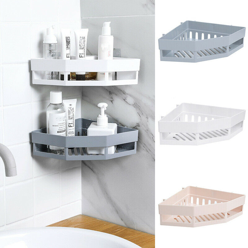 3 Colors Suction Cup Corner Shower Shelf Bathroom Shampoo Shower Shelf Holder Kitchen Storage Rack Organizer