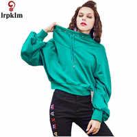 Women's Pullover 2018 Autumn Korean Fashion Fleece Loose Long Sleeve Top Clothing For Female Green Short Jumper CH576