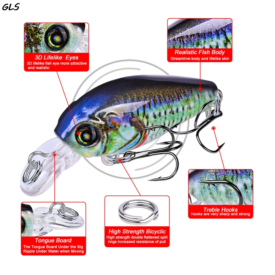 1pcs lot Fishing Lures 47mm 4g Artificial Japan Hard Fishing Crank Bait with Treble Hook Fishing Tackle in Fishing Lures from Sports Entertainment