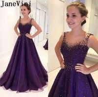 JaneVini Longue халат Regency фиолетовое вечернее платье Soiree 2019 бисером жемчуг длинное формальное платье молния сзади для женщин выпускное Вечерние