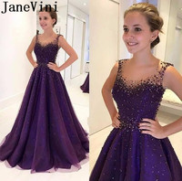 JaneVini Longue Robe Regency Purple Evening Dress Soiree 2019 Beaded Pearls Long Formal Gowns Zipper Back Women Prom Party Dress
