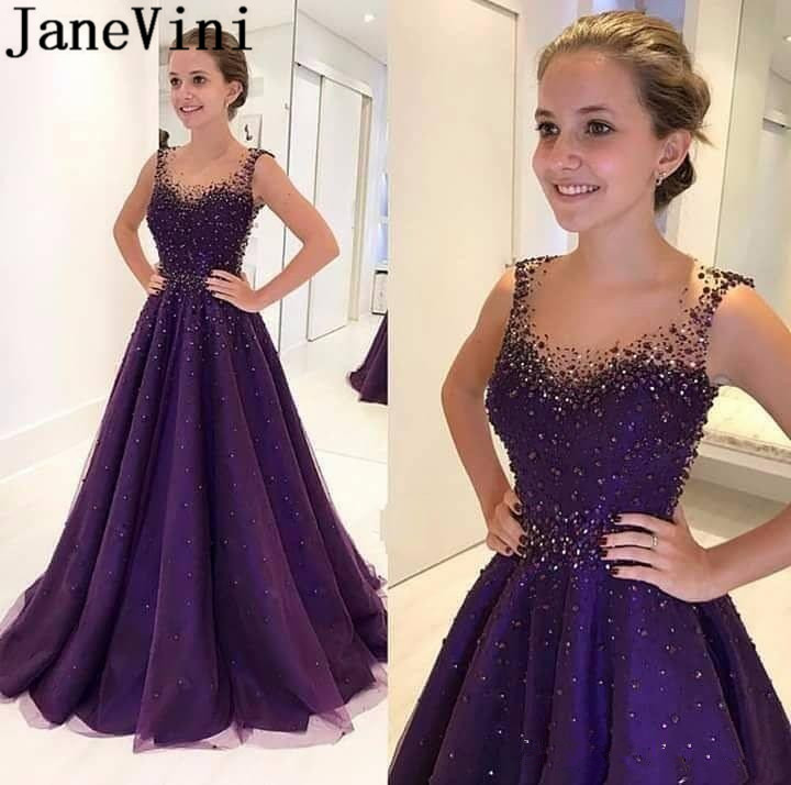 JaneVini Longue Robe régence violet Robe de soirée Soiree 2019 perles longues robes formelles fermeture éclair dos femmes Robe de bal