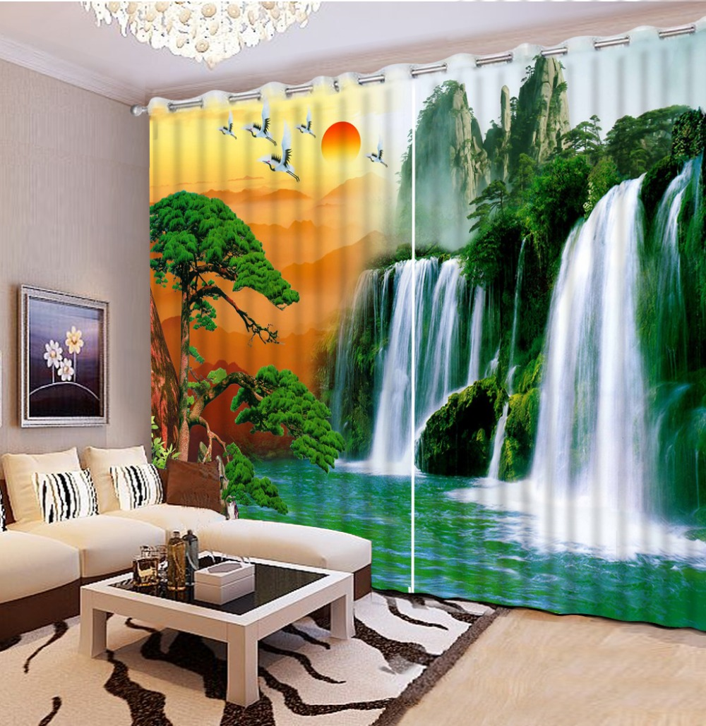 custom 3d curtains Waterfall red day landscape curtains for living room  blackout curtains 3d stereoscopic curtains window-in Curtains from Home &  Garden on ...