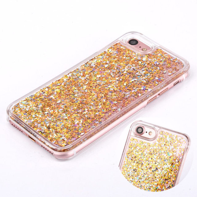 Hot Clear Liquid Glitter Sand Fluorescent Love Heart Case for iPhone