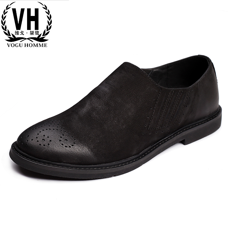 Korean version of the fall 2017 new anti slip shoes, old retro fashion men's shoes tide, men's casual leather shoes the other side of the road new extended version cd