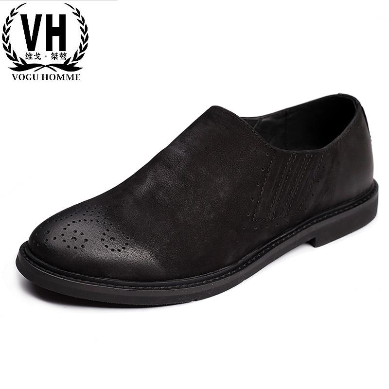 Korean version of the fall 2017 new anti slip shoes, old retro fashion men's shoes tide, men's casual leather shoes pregnant women dress new fashion korean version fall