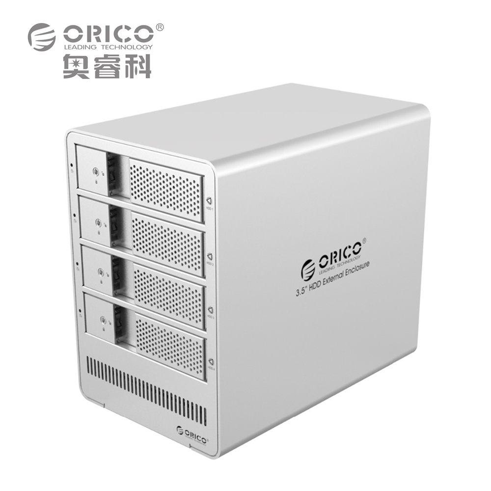 ORICO Tool Free  4 Bay 3.5 SATA Drive Enclosure HDD Case Aluminum Docking Station 5Gbps for Laptop PC orico 9528u3 2 bay usb3 0 sata hdd hard drive disk enclosure 5gbps superspeed aluminum 3 5 case external box tool free storage