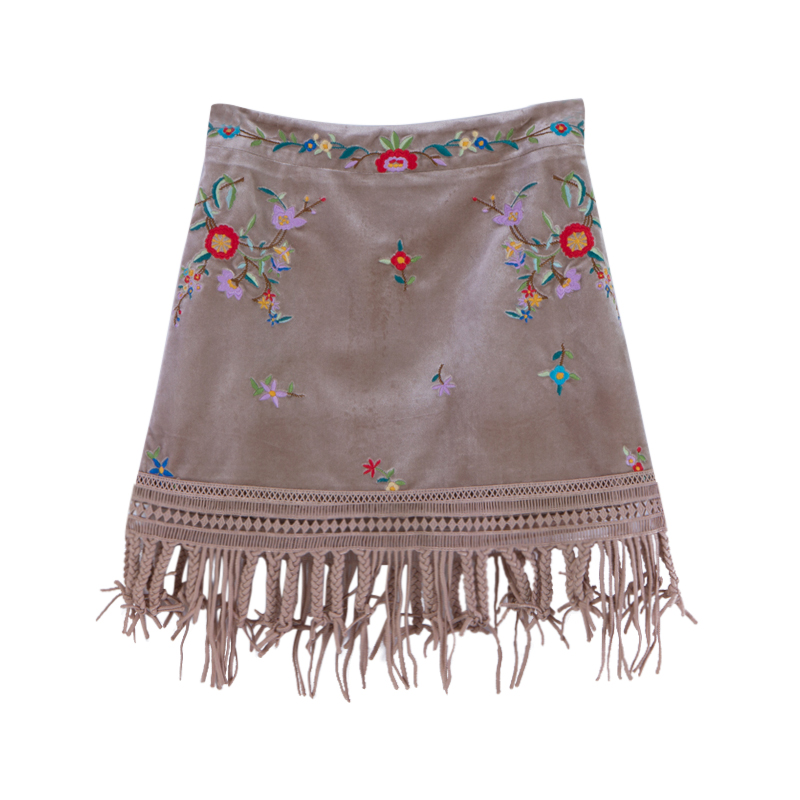 Camel Velours Gland Fleur Chinoiserie Broderie Buste Jupe Automne Chameau Petite Lynette's Femmes UqwPOfRq