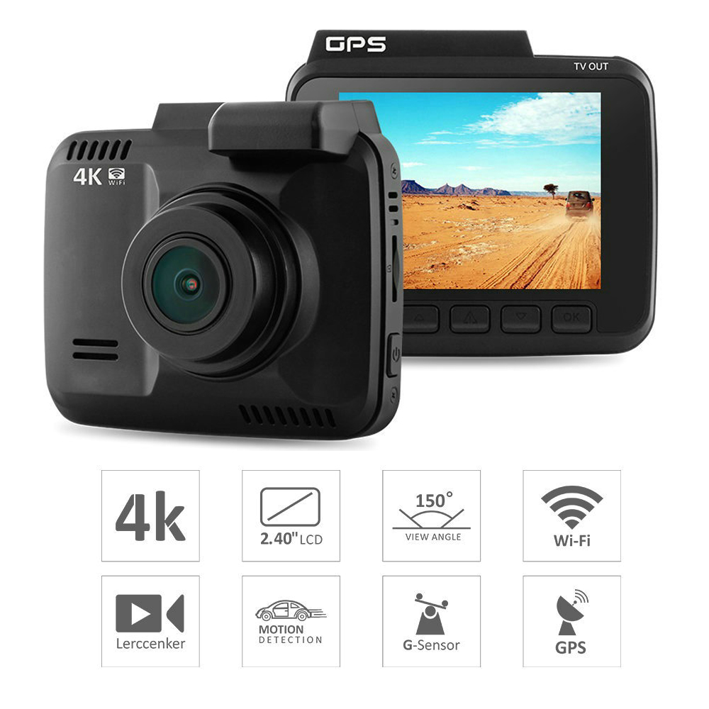 GS63H Novatek 96660 WiFi 4 k 2880x2160 p G-capteur 2.4 Écran Voiture DVR Enregistreur Dash caméra Construit en GPS Caméscope Nuit Vision