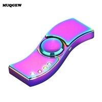 LED Fidget Spinner Alloy Cigarette Electric Lighter USB Rechargeable Cool Light Up Hand Spiner Finger Figet