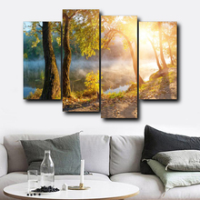 Laeacco Forest Sunshine Canvas Calligraphy Painting Posters Prints Wall Artwork Nordic Home Living Room Decoration