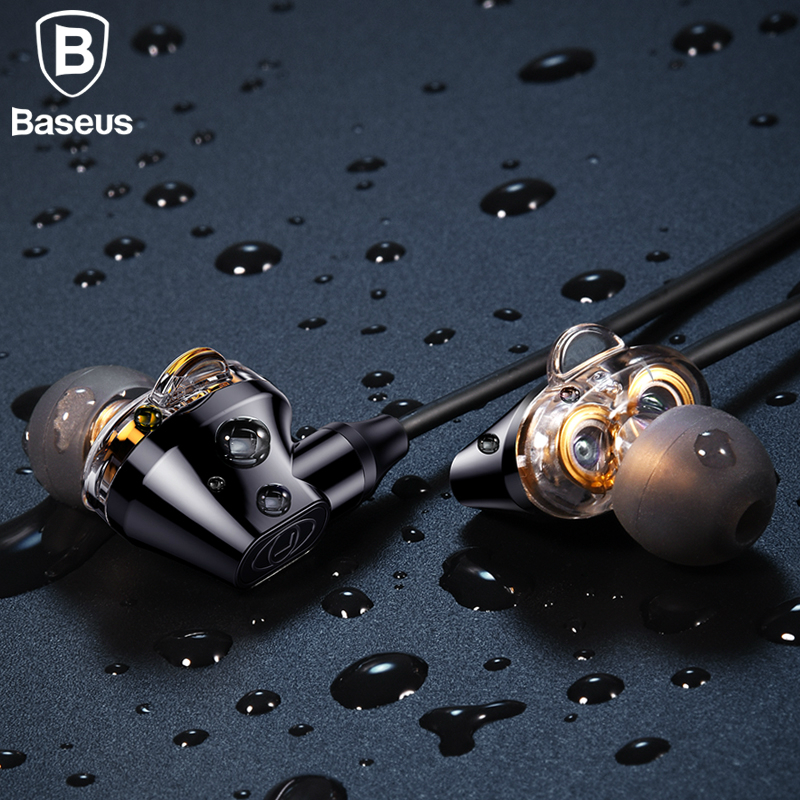 Baseus Double dynamic bluetooth earphone IPX5 Waterproof bluetooth headphone auriculares wireless headphone with mic for phone