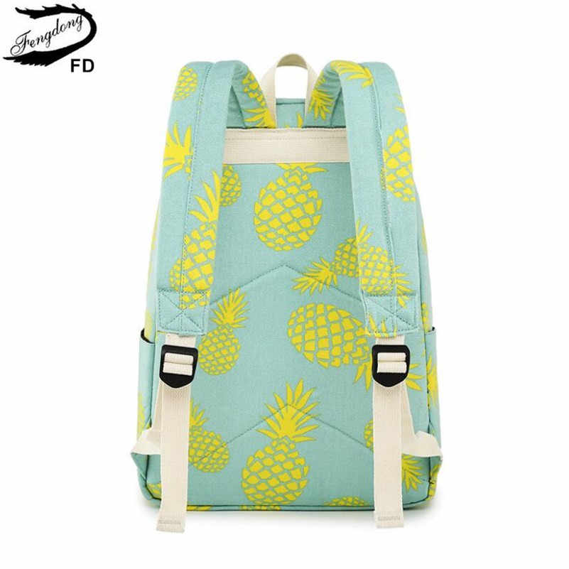 FengDong 3 ピース/セットかわいいパイナップル印刷バックパックの子供のランドセルペン鉛筆バッグ子供女の子スクールバックパックセット
