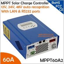 60A 12 V/24 V/48 V reconocimiento automático reguladores de carga solar MPPT con RS232 y la comunicación INALÁMBRICA función