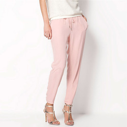 Hot sale casual women chiffon pants elastic waist solid color office ol pants summer slim lady.jpg 250x250