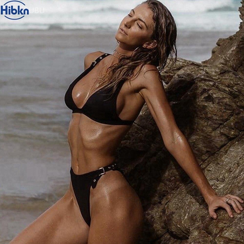 Noir taille haute bikini string Brésilien bikini taille haute maillot de bain oeillet maillots de bain femmes string bikini jambe haute maillot de bain femme