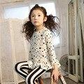 Babados Tops de Manga Longa Para As Meninas do bebê Camisa Branca Estrela Padrão de Impressão Roupas Blusa de Algodão camisa da menina roupas da menina da criança