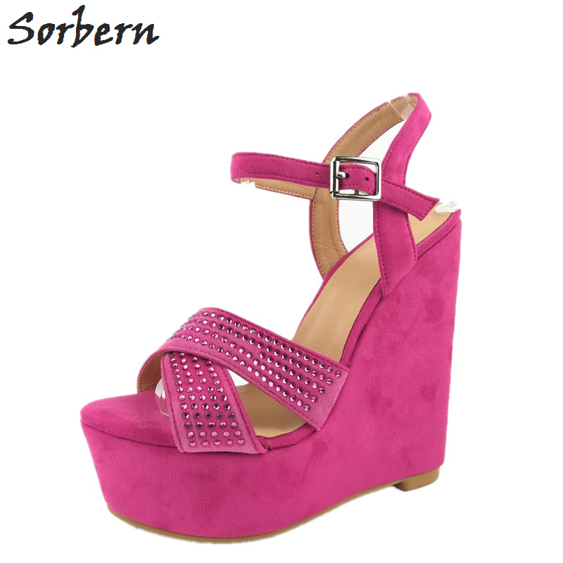 Sorbern Peach Women Wedge High Heel Sandals Cross Strap Slingbacks Platform Crystal Heeled Sandal Korean Shoes Platform WedgesSorbern Peach Women Wedge High Heel Sandals Cross Strap Slingbacks Platform Crystal Heeled Sandal Korean Shoes Platform Wedges
