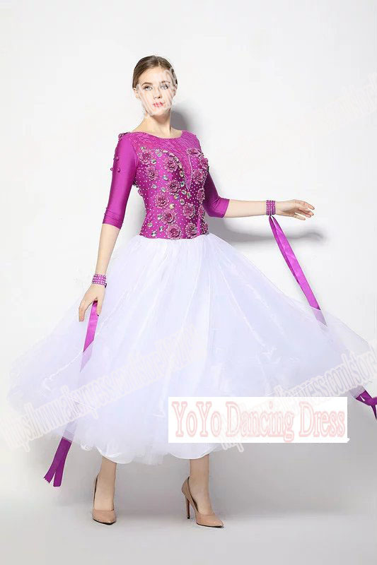 Customized Lady Ballroom Dancing font b Dress b font Modern Dance Competition Costume Waltz Tango Foxtrot