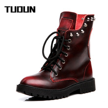 2016 Handmade Winter Women Boots Snow boots Ladies Genuine Leather Martin boots
