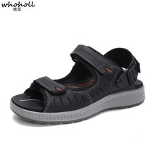 WHOHOLL New Fashion Breathable Men Summer Beach Sandals Genuine Leather Mens Man Causal Shoes Plus Size 38-48
