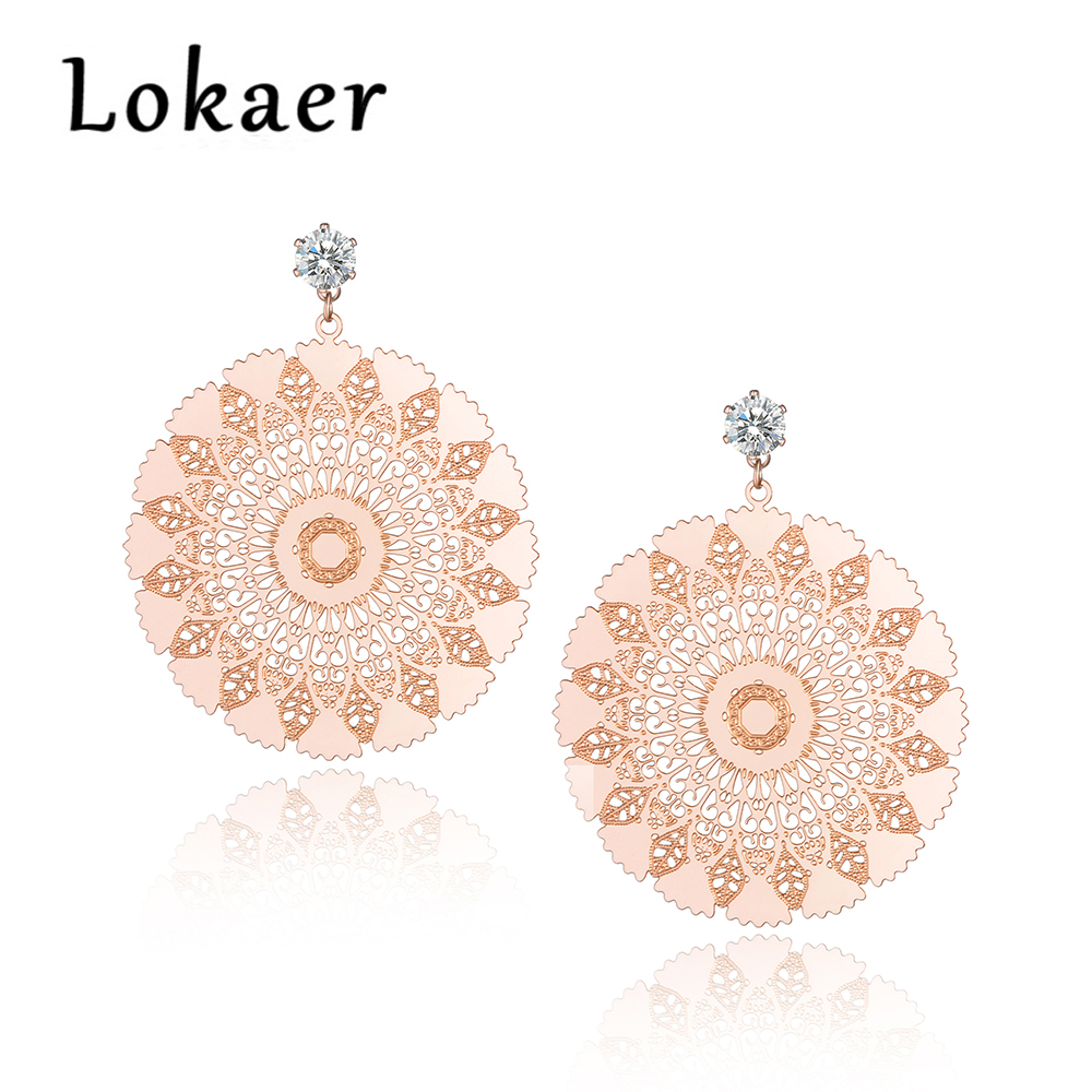 Lokaer Titanium Steel Exquisite Geometric Pattern Circle Earrings Jewelry Rose Gold Color Stud Earrings For Women E180270233R circle