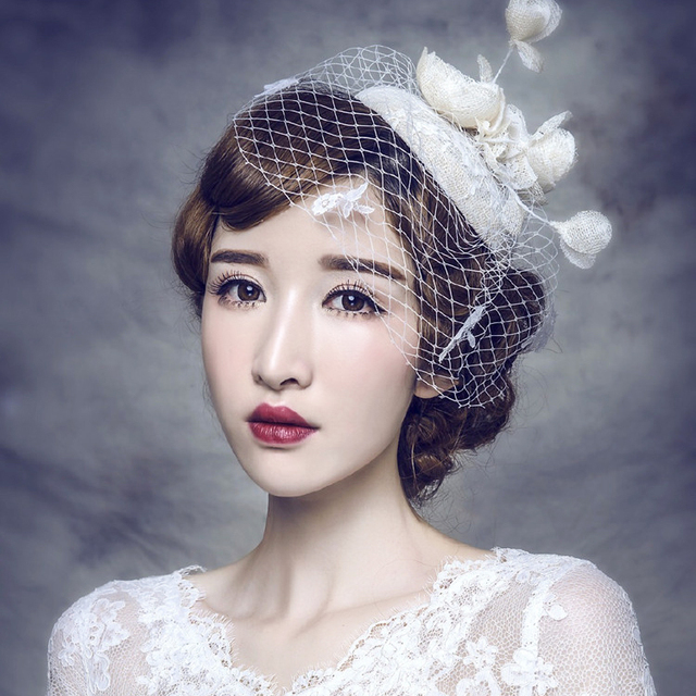2016 Cheap Modest Fashion Bridal Hats Tulle Lace Wedding Hats Hand Made Pearls New Arrive Hat Bride Real Image Hot Sale In Stock