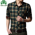 NIAN JEEP Brand Clothing Plaid Shirt Red Green Color Plus Size 4XL Casual camisetas Man 70