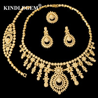 2018 Fashion Ethnic Boho Jewelry Set Gold Color Nigerian Bridal Wedding Bijoux African Beads Jewellery Sets Parure Bijoux Femme