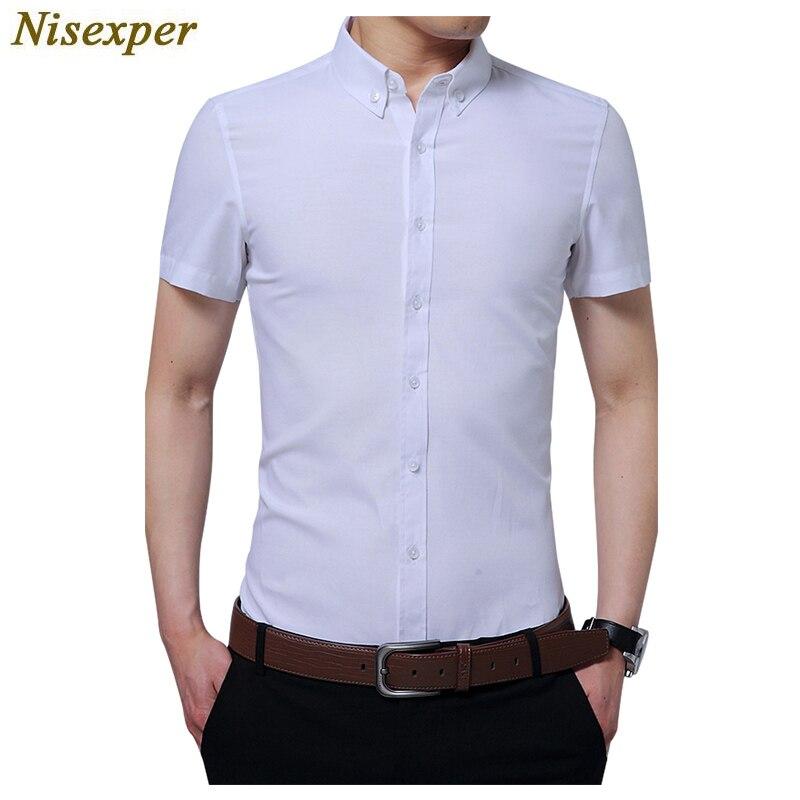 Nisexper Dress Shirts for Men Short Sleeve Slim Fit Mens Shirt Good Quality Solid Casual Business Shirt Mens Shirt Big Size 5xl